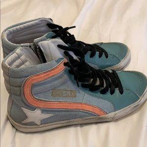 14adfb4ee Golden Goose Superstar Sneakers Golden Goose Slide Hightop Sneakers ...